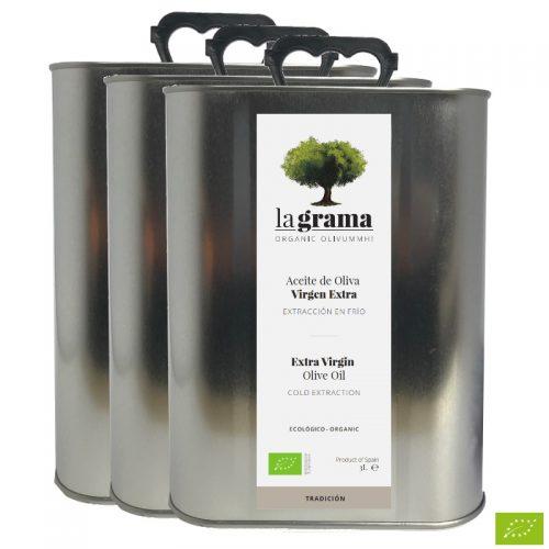 3 latas de La Grama Tradición 3 litros – Aceite de Oliva Virgen Extra Ecológico – Cosecha 2018-2019