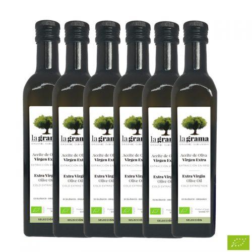 6 botellas de La Grama Selección 0,50 litros – Aceite de Oliva Virgen Extra Ecológico – Cosecha 2018-2019