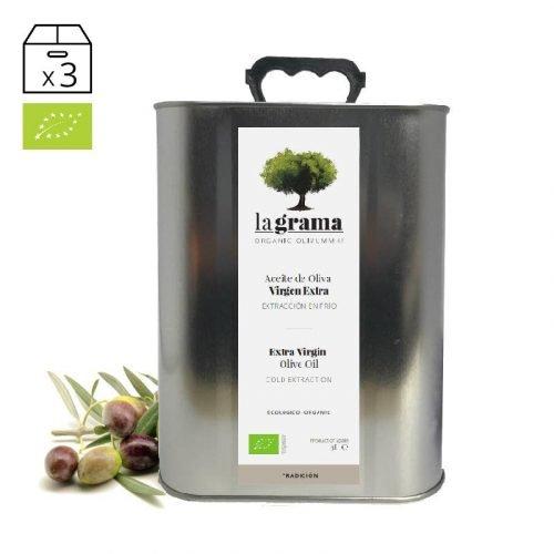 La Grama Tradición lata de 3 litros – Aceite de Oliva Virgen Extra Ecológico – Cosecha 2018-2019